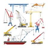 Crane o equipamento do torre-guindaste do vetor e da construção industrial ou o grupo da ilustração do constructiontechnics de pó ilustração stock