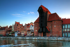 Crane in the old town in Gdansk Royalty Free Stock Images