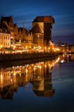 The Crane in Old Town of Gdansk by Night Stock Photography