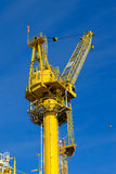 Crane operation on the platform, transfer cargo or heavy lift on work site Royalty Free Stock Photos