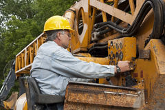 Crane operator. Male crane operator getting his equipment ready for the workday Royalty Free Stock Photos