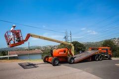 Crane Operator Flat Bed Truck móvel fotografia de stock