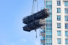 Crane Moving Scaffolding in Sydney Stock Images