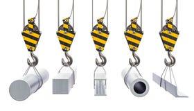 Crane os ganchos com produtos metalúrgicos, metais rolados rende 3D Fotos de Stock Royalty Free