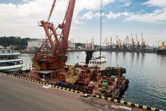 Crane on the pier. Royalty Free Stock Photo
