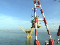 Crane platform and oil rig - Timelapse - Petrochemical industry - Business Industries stock video footage