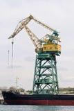 Crane in port. Huge ship crane in the Sevastopol trade port Stock Photography