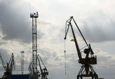 The crane at the port. Royalty Free Stock Image
