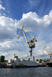 Crane in a port stock image
