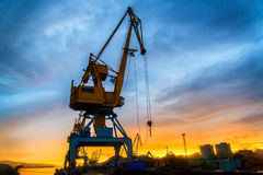 Crane in port Stock Photos