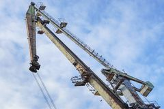 Crane on port. With blue sky in background Stock Photo