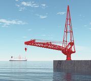 Crane on a port dock. Computer generated 3D illustration with a crane on a port dock Royalty Free Stock Photography