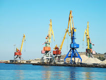 Crane in the port Stock Photo