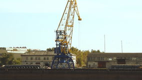 Crane in the port moves loads. At sunny day stock footage