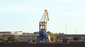 Crane in the port moves loads. At sunny day stock video