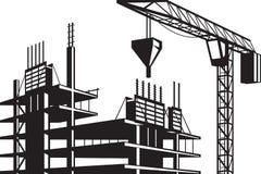 Crane poured concrete construction Stock Photo