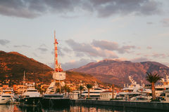 Crane on the quay in Tivat, Montenegro, Porto-Montenegro distric Stock Photos
