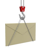 Crane raises letter (clipping path included) Royalty Free Stock Images