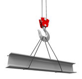 Crane raises a new Roof Beam. Image with clipping path Stock Photography