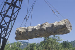 A crane raising a weathered log Royalty Free Stock Photo