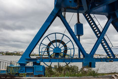 Crane reeling drum with cable Stock Images