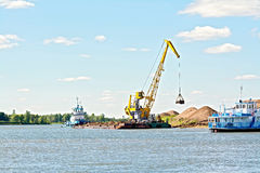 Crane river with sand Royalty Free Stock Photos