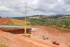 Crane on a road construction site stock photos