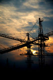 Crane in the setting sun Royalty Free Stock Images