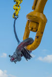 Crane and shackle. In supply boat Royalty Free Stock Photos