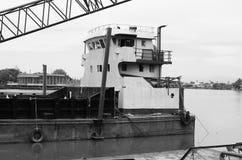 Crane Ship. A crane ship for bridge construction Stock Photo