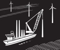 Crane ship buildIng wind farm in the sea. Vector illustration vector illustration