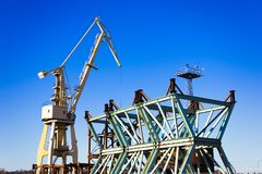 Crane, ship-to-shore crane elements.Transport and technology background royalty free stock photos