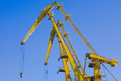 Crane, ship-to-shore crane elements.Transport and technology background royalty free stock image