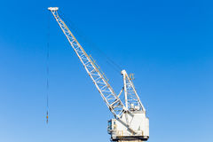 Crane Ships Cargo Hoisting Harbor. Crane mechanical pulleys cables for hoisting rigging ships cargo repairs maintenance harbor infrastructure machines Royalty Free Stock Photography