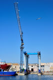 Crane in a shipyard Royalty Free Stock Photography