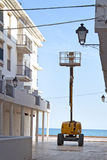 Crane on the shore of the Mediterranean city Royalty Free Stock Image