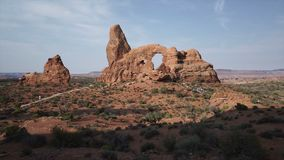 Crane Shot of Turret Arch in Arches National Park stock video