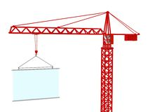 Crane with signboard. 3d render. Royalty Free Stock Photos