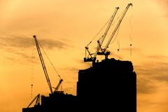 Crane silhouette Royalty Free Stock Photo