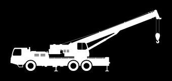 Crane Silhouette on a black background. Stock Photos