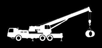 Crane Silhouette on a black background. Stock Photos