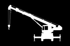 Crane Silhouette on a black background. Royalty Free Stock Images