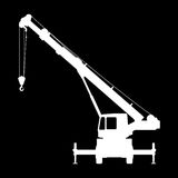 Crane Silhouette on a black background. Royalty Free Stock Image