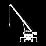Crane Silhouette on a black background. Stock Photo