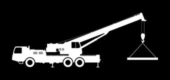 Crane Silhouette on a black background. Vector illustration Royalty Free Stock Photos
