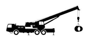 Crane Silhouette en un fondo blanco Imagen de archivo libre de regalías
