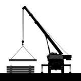 Crane Silhouette en un fondo blanco Fotos de archivo