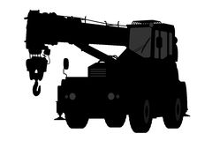 Crane Silhouette en un fondo blanco Imagenes de archivo