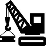 Crane. Silhouette of a crane lowering a heavy bar Royalty Free Stock Photography