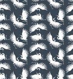 Crane silhouette vector illustration. Seamless elegant pattern Stock Photography
